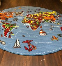 NEW WORLD MAP CHILDREN 200X200CM CIRCLE RUGS MATS HOME SCHOOL LEARNING MULTI
